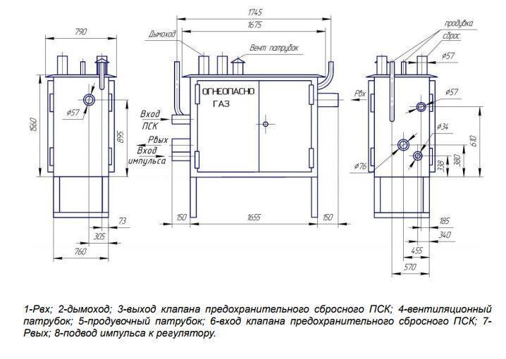 ГРПШ-13-1Н(В)-У1, габаритная схема газорегуляторного пункта ГРПШ-13-1Н(В)-У1